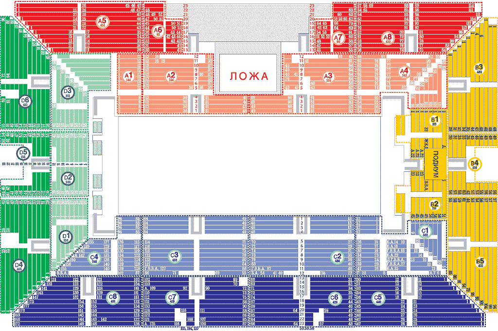 МСА Лужники, схема зала